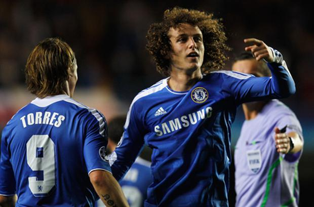 David Luiz celebrates scoring the opening goal with team mate Fernando Torres. Photo: Getty Images