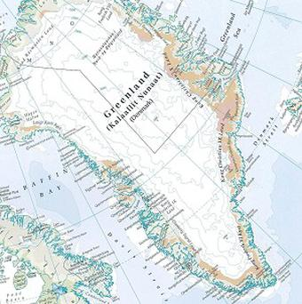Greenland, as seen in the new Times Comprehensive Atlas Of The World