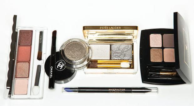 Pictured, clockwise from left: Clinique Eye Color Surge Eye Shadow Quad in Black Honey; Chanel Illusion D'Ombre; Estee Lauder Duo in Modern Mercury; Lancome Les Oeillades Palette in Blondette Fatale; Max Factor Liquid Effect Pencil in Black Fire