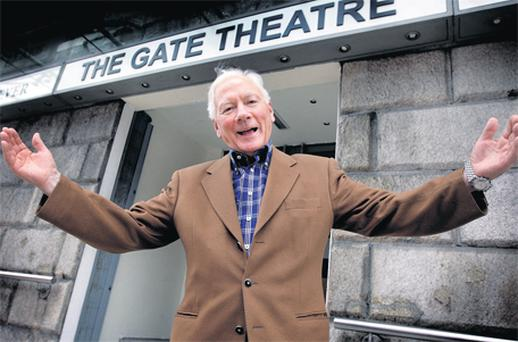 Gay Byrne at the Gate Theatre in Dublin yesterday