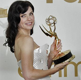 Julianna Margulies from 'The Good Wife' poses with the Emmy for best lead actress
