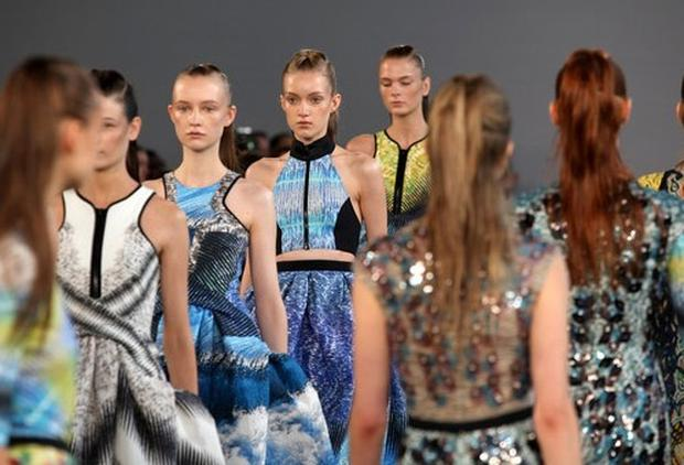 Models on the runway for the Peter Pilotto show at London Fashion Week Spring/Summer 2012