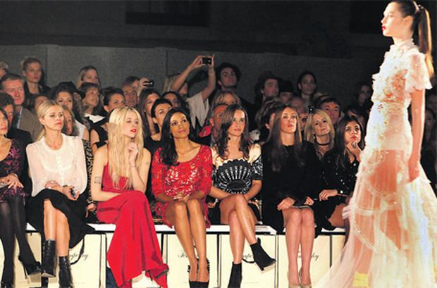 Pippa Middleton (second right) and Peaches Geldof (second left) at the Temperley London show at the British Museum as part of London Fashion Week