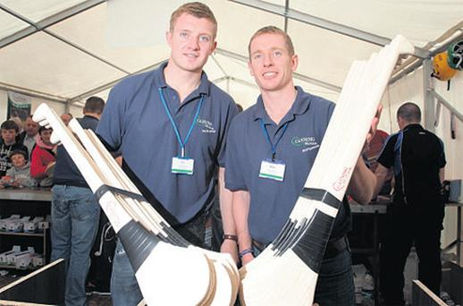 Canning brothers Joe and Ollie display their hurleys at the Ploughing Championships yesterday last year.