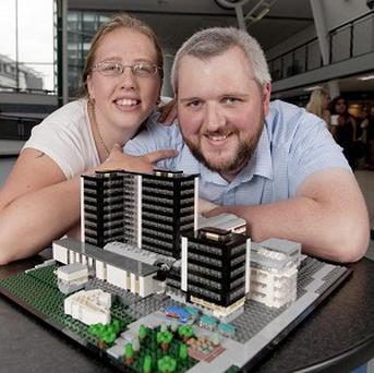Clare Currie and Luke Dolman built a detailed model of the University of Derby's main site out of Lego