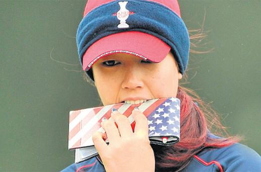 Michelle Wie is well wrapped up during yesterday's practice day for the Solheim Cup which starts tomorrow