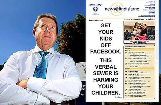 Lindisfarne principal Chris Duncan and the school newsletter bearing his stark warning about Facebook