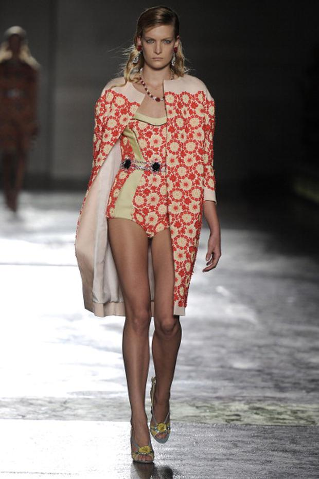 MILAN, ITALY - SEPTEMBER 22: A model walks the runway at the Prada Spring Summer 2012 fashion show during Milan Fashion Week on September 22, 2011 in Milan, Italy. (Photo by Chris Moore/Catwalking/Getty Images)