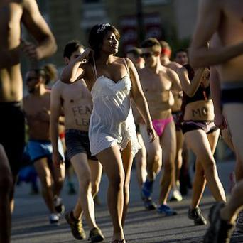 Thousands of people have taken part in a run wearing only underwear