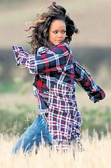 Superstar singer Rihanna shooting the video for a new song in a field near Bangor, Co Down. Hundreds of starstruck teenagers turned up to watch the Barbados-born beauty in action