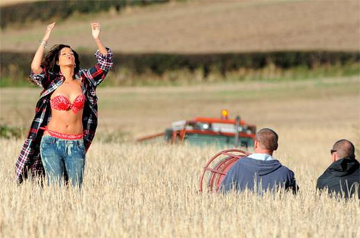 Pop star Rihanna shooting her new music video in a field outside Bangor, Co Down, yesterday