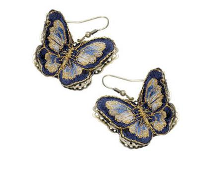 Fabric Butterfly Short Drop Earrings