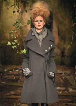 Felted wool coat, €620; scarf, €80; cuffs, €30. Boots, designer's own