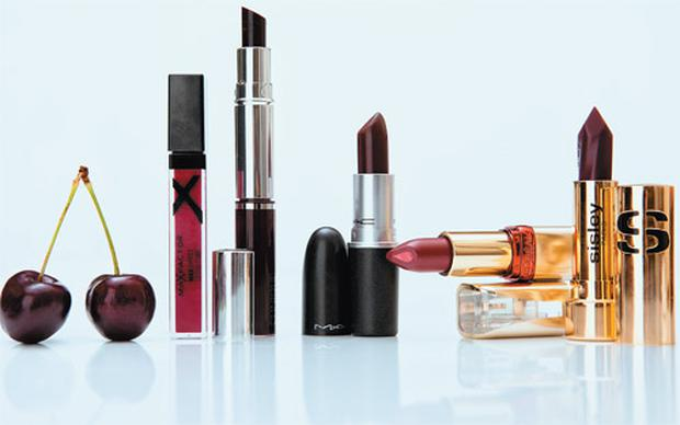 Pictured, from left: Max Factor Max Effect Gloss Cube in Sweet Cassis; Clinique Dual-Ended Almost Lipstick and Long-Last Glosswear; Mac Matte Lipstick in Prince Noir; L'Oreal Colour Riche Serum in S203; Sisley Phytocolour in L24