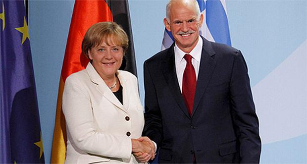 German Chancellor Angela Merkel and Greek Prime Minister George Papandreou