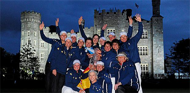 The European team celebrate with the Solheim Cup at Killeen Castle, Dunsany, Co. Meath