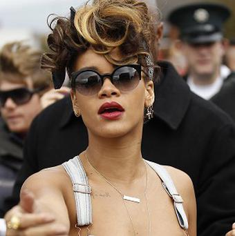 Rihanna was asked to cover up by a farmer while shooting a video near Bangor (AP)