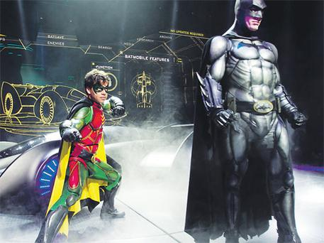 Karel Simons as Robin and Nick Court as Batman, pictured on stage at the 02 in Dublin