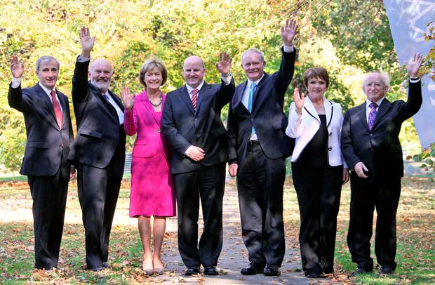 28/09/'11 Presidential Candidates, from left, Gay Mitchell, David Norris, Mary Davis, Sean Gallagher, Martin McGuinness, Dana Rosemary Scallan and Michael D Higgins pictured at RTE Radio Station this afternoon..Picture Colin Keegan, Collins, Dublin.