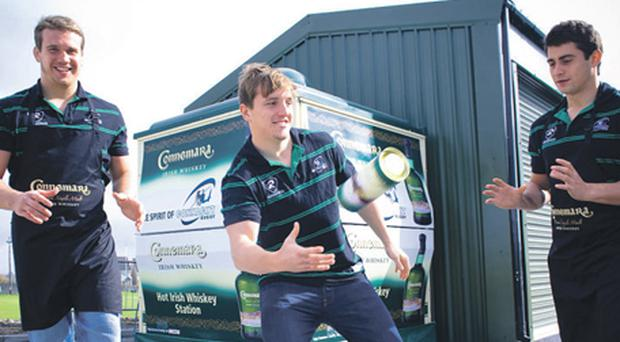 Connacht Rugby stars TJ Anderson, Paul O'Donohue and Tiernan O'Halloran were on hand to officially unveil the Connemara Whiskey Kiosk which will provide hot whiskey drinks at all Connacht home games