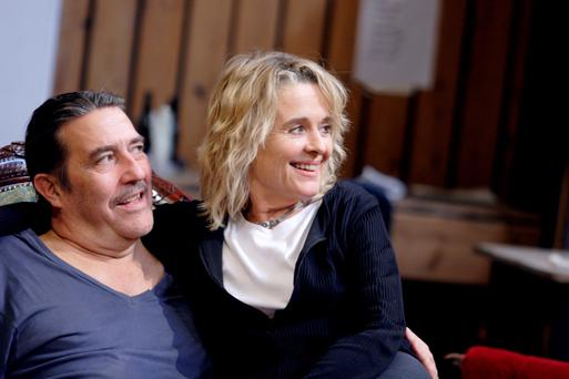 Sinéad Cusack and Ciarán Hinds in rehearsals for JUNO AND THE PAYCOCK by Sean OCasey, a co-production between the Abbey Theatre & the National Theatre of Great Britain directed by Howard Davies on the Abbey stage Wednesday 21 September - Saturday 5 November 2011. As part of the Ulster Bank Dublin Theatre Festival. Pic by Catherine Ashmore