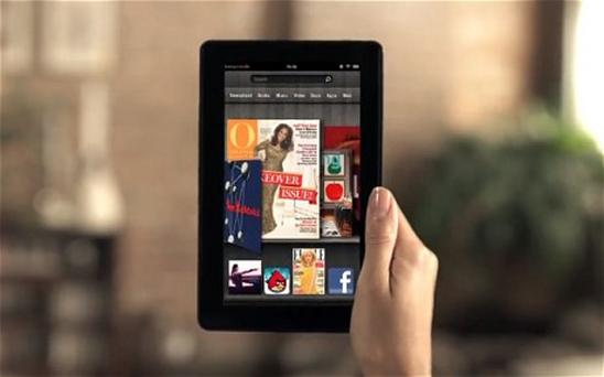 Following the success of their Kindle reader, Amazon take their first steps into the Apple dominated tablet market with an advert for the new Kindle Fire. Photo: Amazon