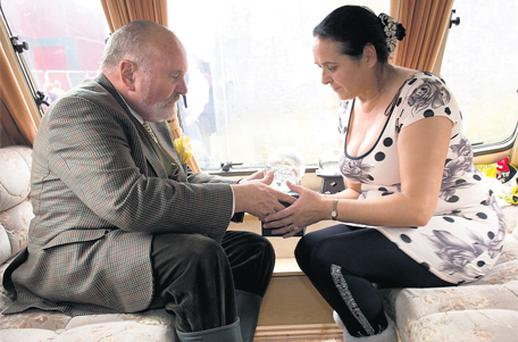 Presidential hopeful David Norris does some crystal-ball gazing with Madame Lee in Ballinasloe