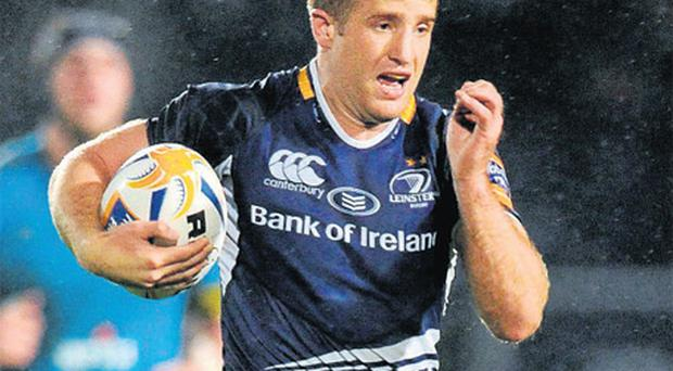 Luke Fitzgerald on his way to scoring Leinster's third try on Saturday night