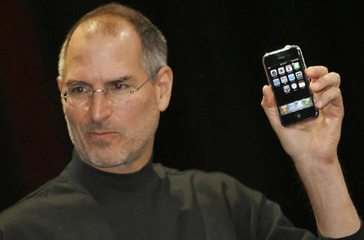 The first ever iPhone was unveiled by Steve Jobs at the Macworld Conference and Expo in San Francisco in January 2007. Based on the iPod, it was effectively an entire computer that happened to make phone calls. Photo: Getty Images