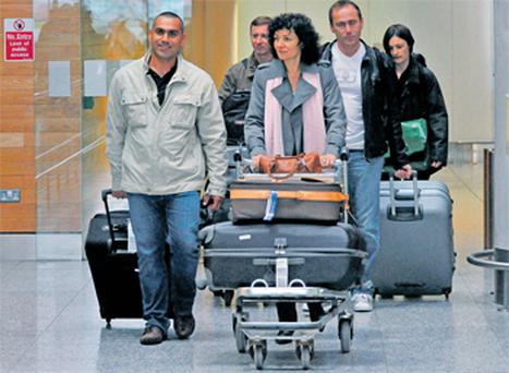 The team of French investigators arriving at Cork Airport yesterday afternoon