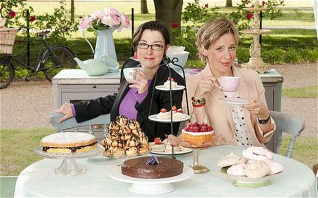 Let them eat cake... the jaunty presenters of 'The Great British Bake Off', Sue Perkins and Mel Giedroyc