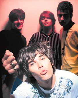 The Stone Roses, from left: guitarist John Squire, lead singer Ian Brown, bassist Gary 'Mani' Mounfield and drummer Alan 'Reni' Wren, and their debut album