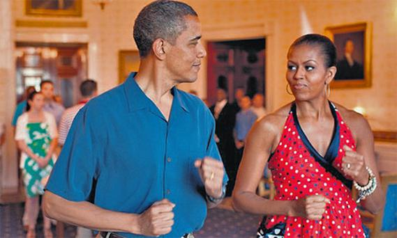 Obama with wife Michelle in the White House, allegedly a tough place for women to work