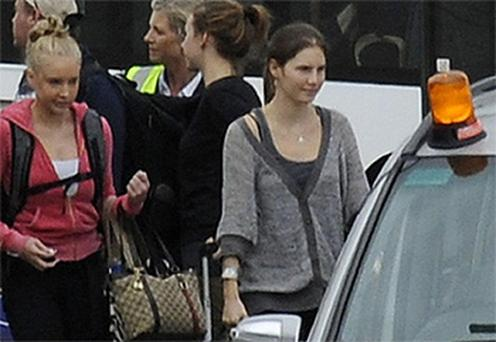 Amanda Knox pictured at London's Heathrow Airport on her journey back to Seattle. Photo: PA