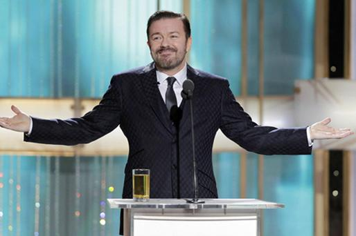 Ricky Gervais during the 68th Annual Golden Globe Awards in Beverly Hills. Photo: PA