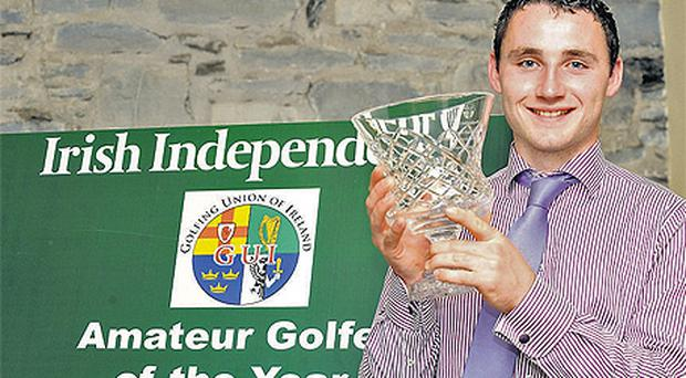 Stephen Ryan (Co Tipperary GC) proudly poses with the 'Most Improved Golfer' trophy at Carton House