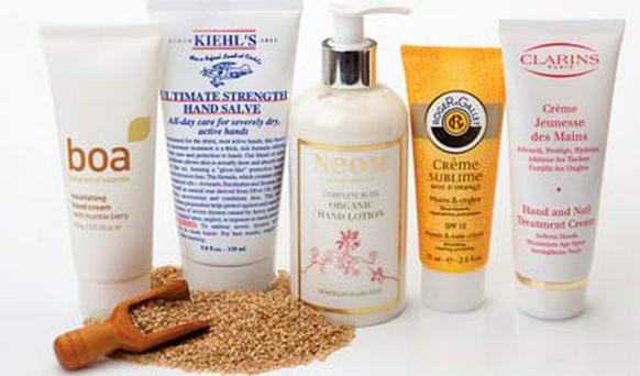 Pictured, from left: Boa Nourishing Hand Cream; Kiehl's Ultimate Strength Hand Salve; Neom Complete Bliss Organic Hand Lotion; Roger&Gallet Creme Sublime Bois D'Orange Hands and Nails Cream; Clarins Hand and Nail Treatment Cream