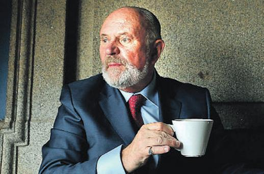 Senator David Norris at Connolly Station, Dublin, yesterday before going to Dundalk to canvass