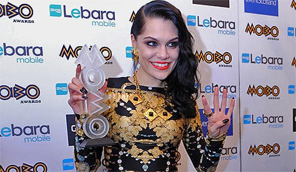 Jessie J poses with one of her four MOBO Awards. Photo: Getty Images
