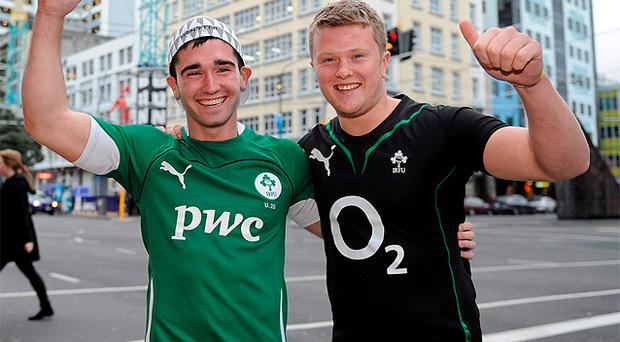 James Lyons, left, and Barry Fitzgerald, from Blackrock, Co Dublin, who have moved to Wellington