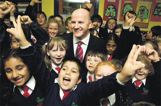Presidential candidate Sean Gallagher with children from the Glebe montessori school in Celbridge, Co Kildare, yesterday