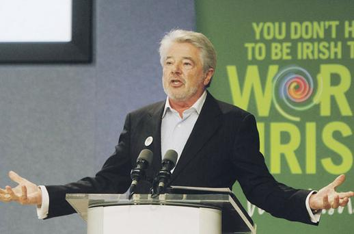 'Riverdance' founder John McColgan launching his new Irish social network, WorldIrish.com, at a seminar in Dublin Castle yesterday.