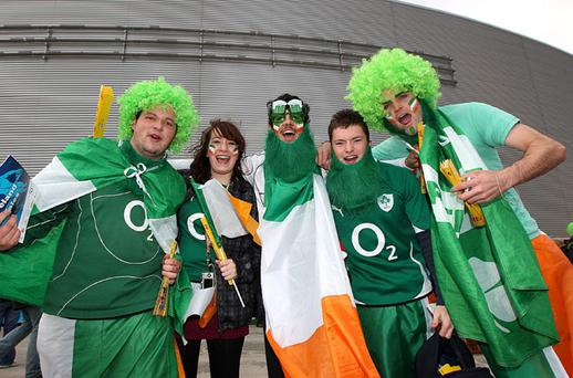 Ireland fans show support for their side ahead of kick off for the 2011 Rugby World Cup Quarter Final match at the Wellington Regional Stadium, Wellington
