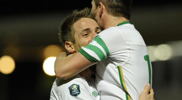 Ireland' s Kevin Doyle celebrates scoring his sides first goal of the game
