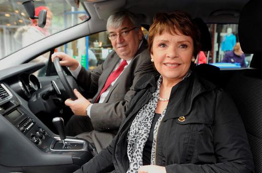 Presidential candidate Dana Rosemary Scallon and her husband Damien on the campaign trail in Tralee, Co. Kerry on Friday