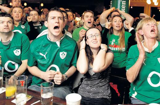 TENSION: Fans watch the Ireland v Wales Rugby World Cup match in Kielys in Donnybrook, Dublin 4. Photo: Gerry Mooney