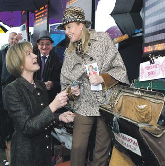 Mary Davis (left) with bookmaker Ellen Martin at Limerick Racecourse yesterday