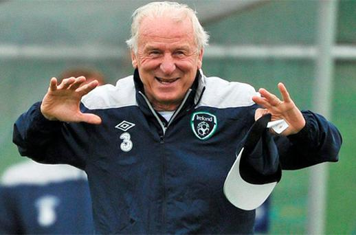 Giovanni Trapattoni in fine form during Ireland training at Malahide yesterday