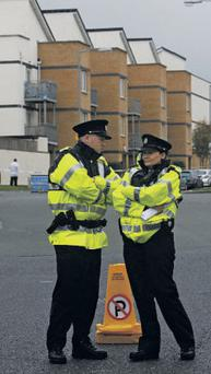 Gardai at the scene where six men were injured during a knife-fight