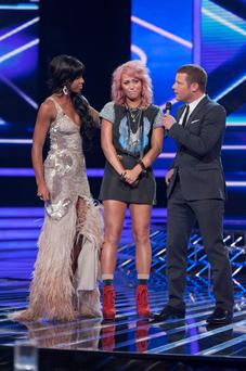 The X Factor Results Show Live on ITV1, Series 8, Fountain Studios, London, Britain - 9th October 2011.The Judges are as follows:Gary BarlowTulisa ContostavlosKelly RowlandLouis WalshThe Show is Presented by Dermot O'Leary